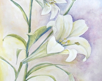 "Lilies, Original Watercolor, on 11"" x 16"" paper"