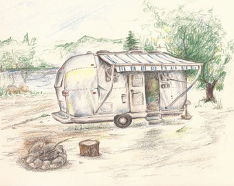 """Airstream Dream, Print of Colored Pencil drawing 8""""x6"""""""