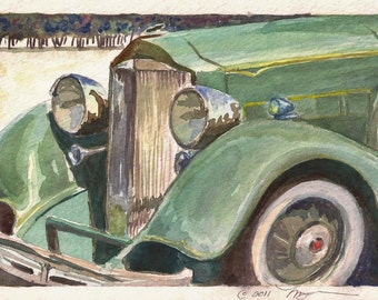 "Antique Packard in Green, Print of Watercolor Painting Green Automobile, 6"" x 9"""