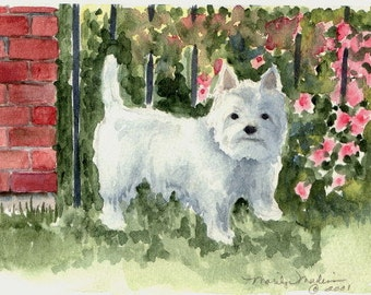 "West Highland White Terrier print of Watercolor, 4.5"" x 6"""