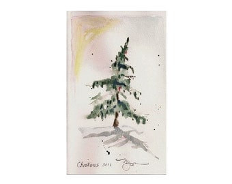 """Small Fir in Snow, holiday 2011 watercolor print 4.5""""x6.5"""", on 8"""" x 10"""" paper"""