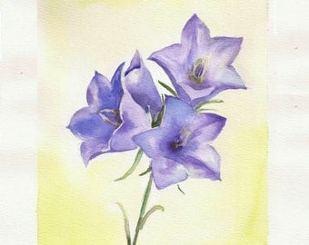 """Bluebells, 8""""x10"""" print of watercolor painting"""