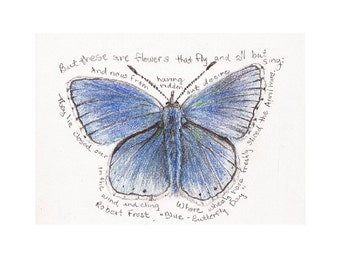 """Blue Butterfly with Robert Frost poem print, 8"""" x 10"""""""