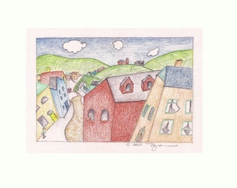 """From Village Street, 4""""x 6"""" print of colored pencil drawing"""