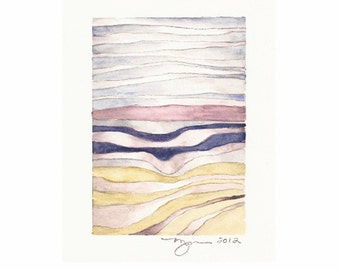 "Layers 4, print of watercolor abstract painting, 3""x4.5"" on 8""x10"" paper"