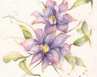 "Clematis in Blues, 8"" x 10""  Original Watercolor"