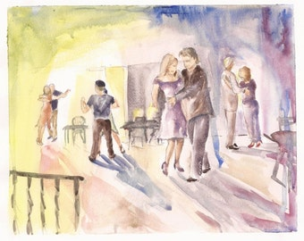 "Impressions of Tango at Crystal Bindi, print of watercolor 8""x10"""