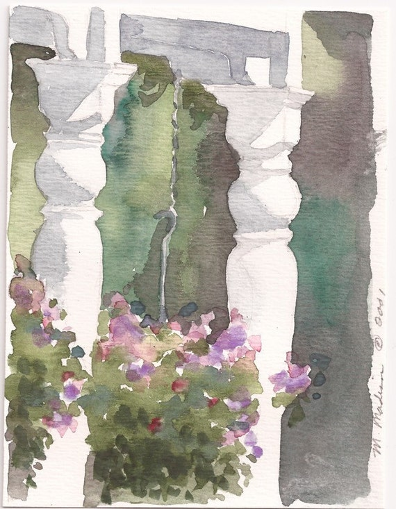 "Grand Rapids Porch with Hanging Flowers, Print of Original Watercolor, 4"" x 6"""