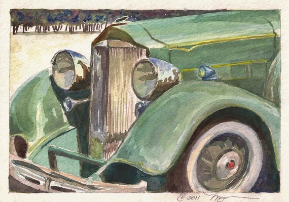 """Antique Packard in Green, Print of Watercolor Painting Green Automobile, 6"""" x 9"""""""