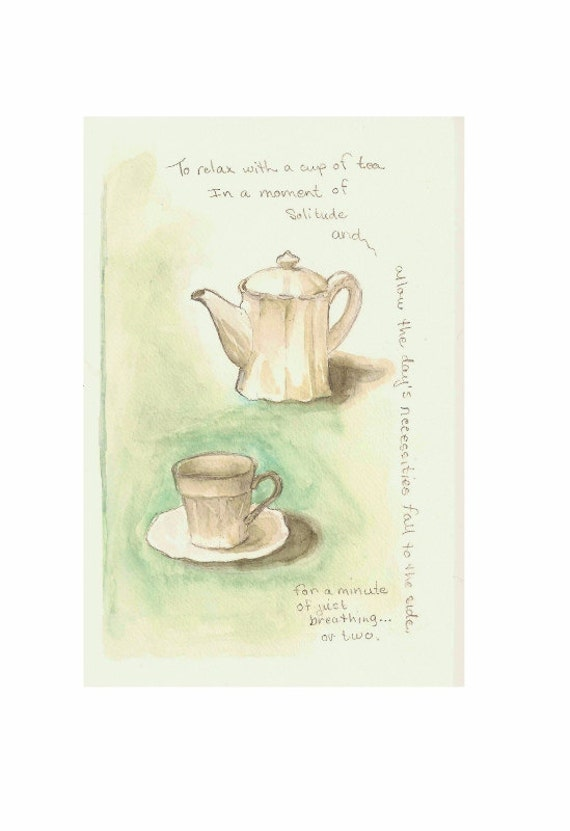 "For CINDY: Tea for One, Original Watercolor with graphite 6""x9"""