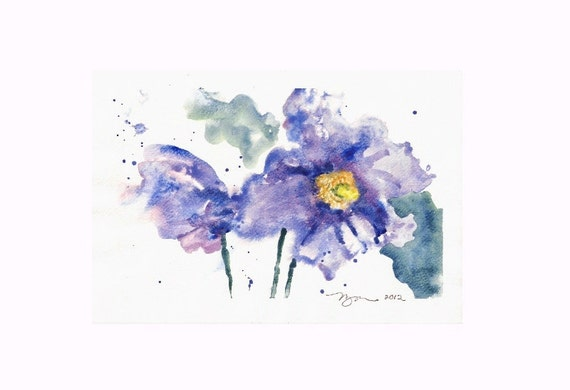 "Purple Flowers, Original Watercolor Painting 6""x9"""