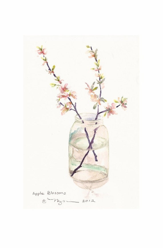 "Apple Blossoms, Print of watercolor Painting, 6""x9"" on 8""x10"" card stock"
