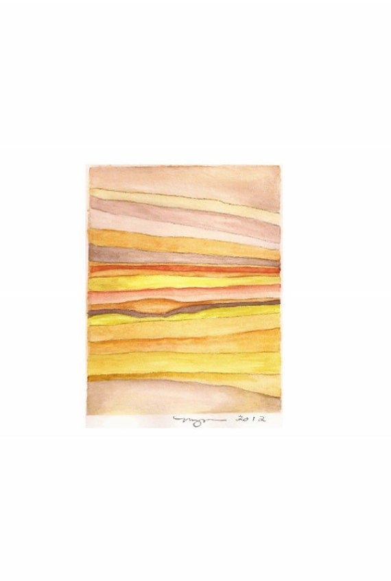 """Layers 2.Orange, a 3.5""""x5"""" print of an abstract watercolor, printed on 8""""x10"""" paper"""