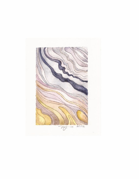 """Layers 2, print of watercolor abstract painting, 3""""x4.5"""" on 8""""x10"""" paper"""