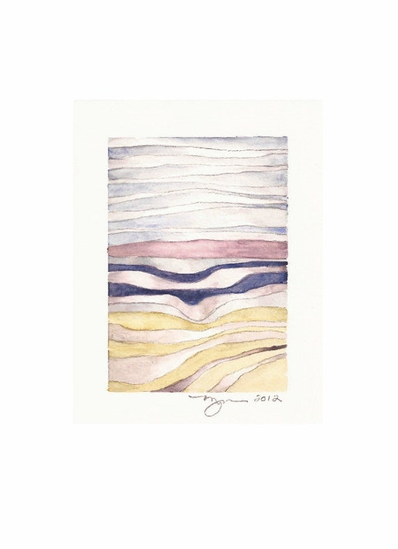 """Layers 4, print of watercolor abstract painting, 3""""x4.5"""" on 8""""x10"""" paper"""