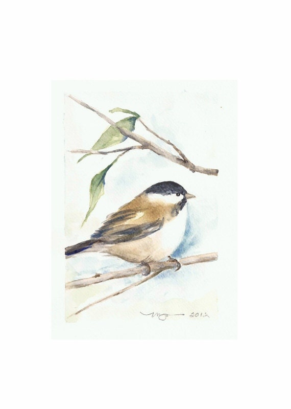 "Chickadee, Print of Watercolor Painting, 5""x7"" on larger paper"
