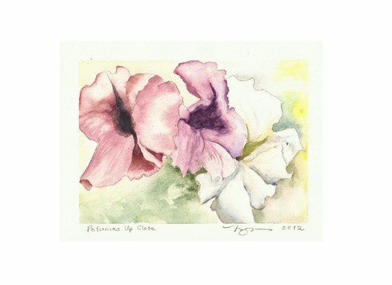 """Petunias Up Close, a 5""""x7"""" print of a watercolor with three Petunias, printed on 8""""x10"""" paper"""