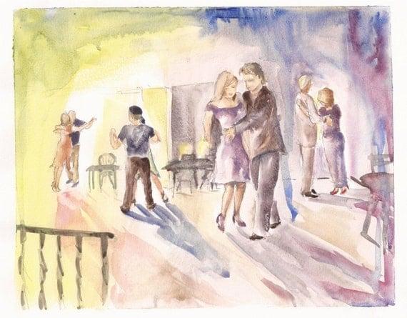 """Impressions of Tango at Crystal Bindi, print of watercolor 8""""x10"""""""