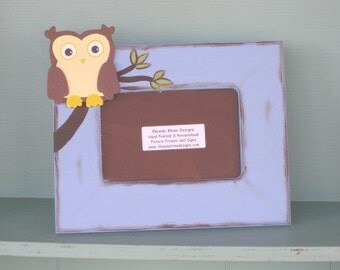Owl picture frame in blue