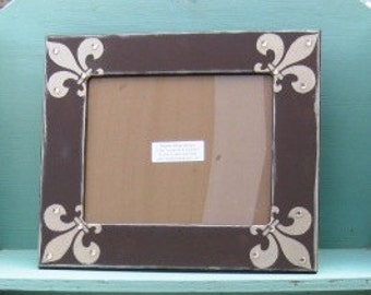 8x10 hand painted frame in chocolate brown with taupe shimmer fleur d' lis