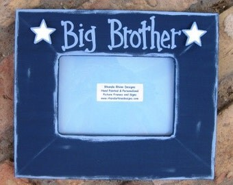 """5x7 Navy """"Big Brother"""" frame distressed in light blue and accented with white stars"""