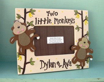 5x7 Picture Frame with Two Little Monkeys in Khaki and brown