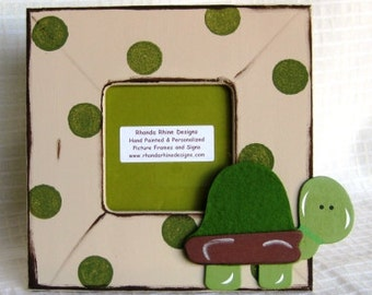 3x3 Khaki turtle frame with green dots, brown distressing.