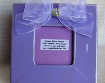 Light purple 3x3 frame with white sheer jeweled bow