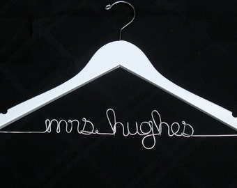 """White Personalized """"Mrs"""" Wedding Dress Hanger for Brides - Dawn's Craft Store"""