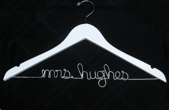 "White Personalized ""Mrs"" Wedding Dress Hanger for Brides - Dawn's Craft Store"