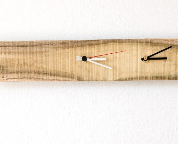 Modern Wall Clock Double Time Clock Salvaged Wood MIMOZA