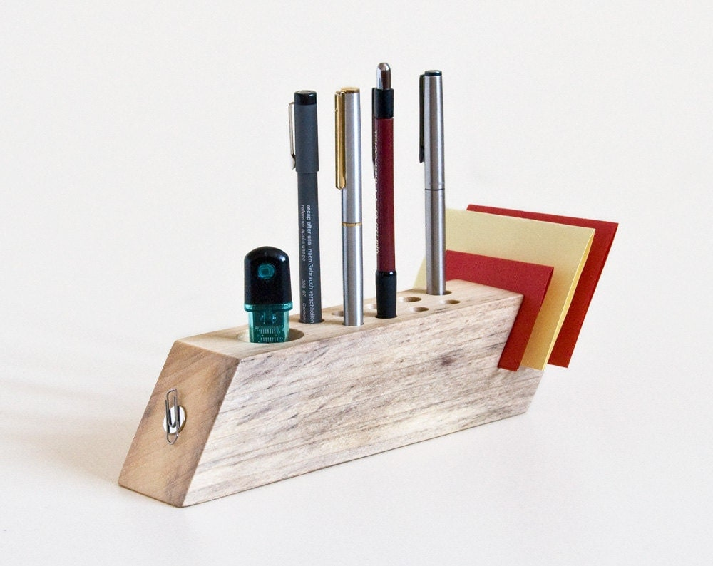 Desk organizer salvaged wood pen holder modern by lessandmore - Wood desk organizer ...