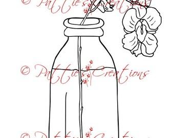 Orchids In Milk Bottle Set