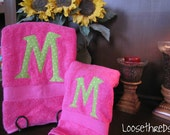 Personalized Monogrammed Towel Set - Hot Pink with Lime Green Polka Dot Initials