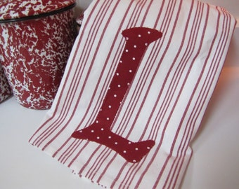 Adorable Red and White  Kitchen Towels with personalized monogram -  Set 0f 4 Towels