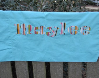 Bright turquoise Monogrammed Pillowcase