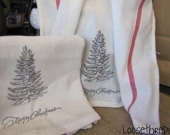 Vintage Inspired French Country Hand Stamped Holiday Kitchen Towels