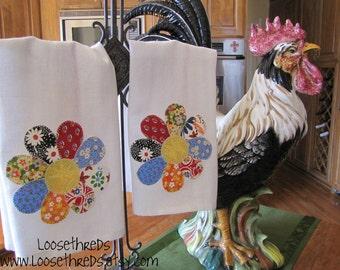 Vintage Scrappy Flower Kitchen Towel - Set of 2