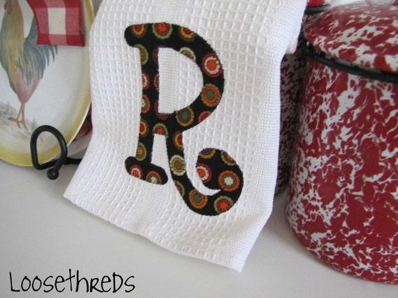 Personalized Kitchen towel with Moda Black Dot Saltbox Harvest Monogram