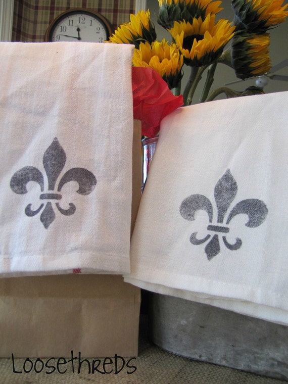 Vintage Inspired  French Country Fleur de lis Hand Stamped Kitchen Towels - Set of 2