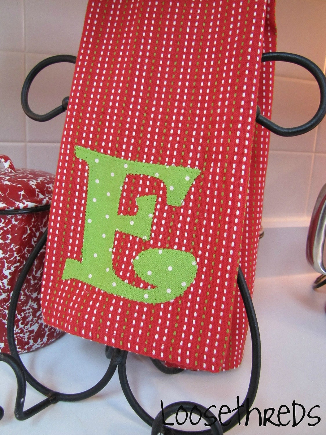 Custom Monogrammed Holiday Kitchen Towel By Loosethreds On Etsy