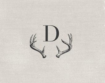 antler monogram . custom colors available