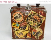 FALL BONANZA Faux Alligator Suitcase, Purse, Train Case, Travel Stickers, Campy, Southwestern Theme, Geekery, Weird, Unique, Vintage by Ret