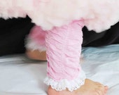 Pink Leg Warmers with White Lace