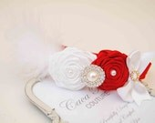 Couture White and Red Rose with Red  Elastic Hadband and Rhinestones