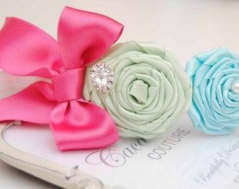 Pastel Light  Colored Flowers with Elastic Hadband and Rhinestone
