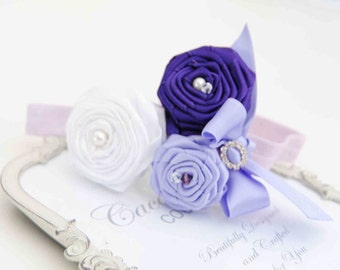 Lavander , Purple and White  Roses with Bow Vintagel Headband