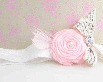 Petit Poema With Pink Roses and Feather  Vintagel Headband