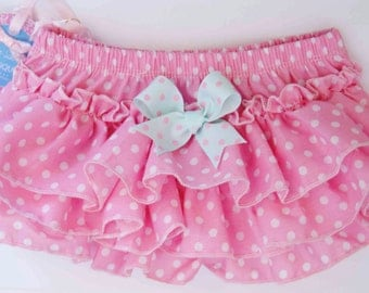 Pink Bloomers with White Dots and Aqua Blue Pink Dot Bow
