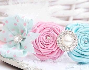 Shabby Chic Headband with Pink and Aqua Blue Roses